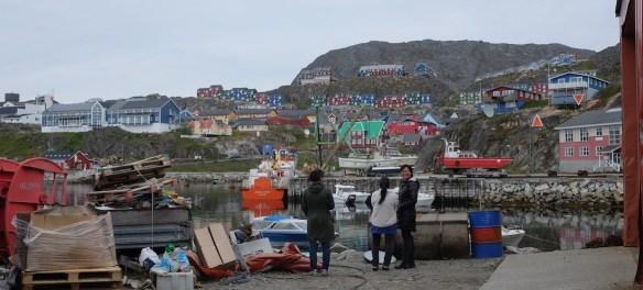 Workers at Qaqortoq, Greenland's fur tanning factory on a cigarette break.