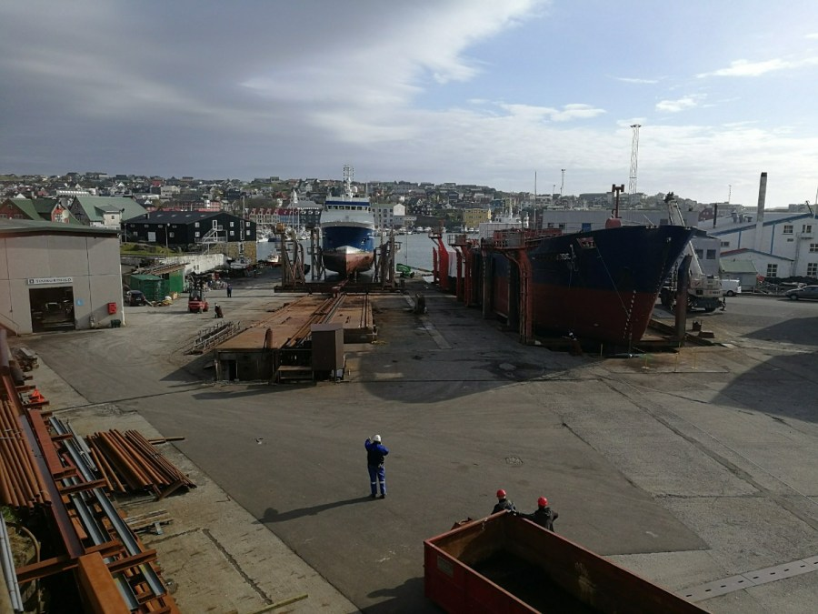 A ferry being repaired in Torshavn's shipyard.