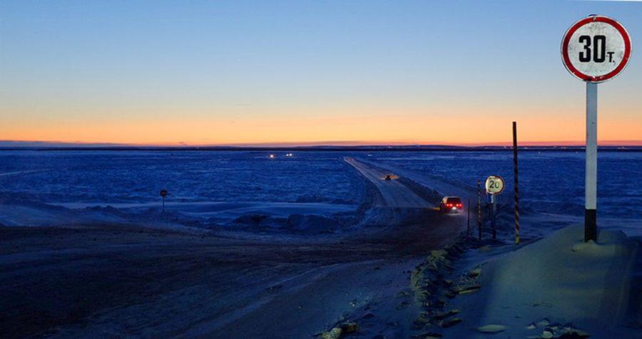 Ice road to Yakutsk from Nizhny Bestyakh, Russia.