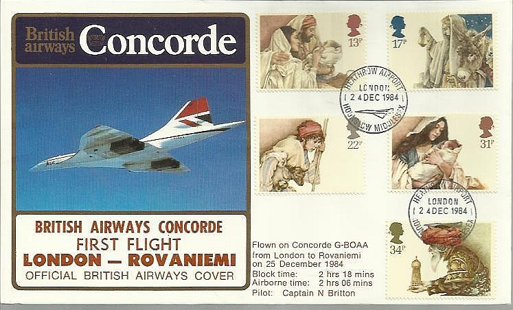 Commemorative cover for the first London-Rovaniemi Concorde flight.