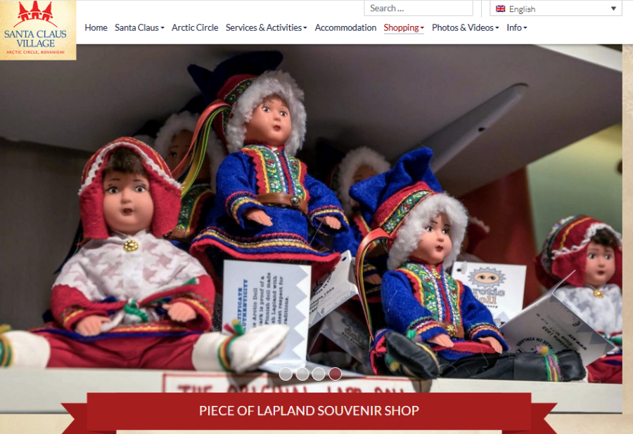 Sami dolls for sale as advertised on the Santa Claus Village website.