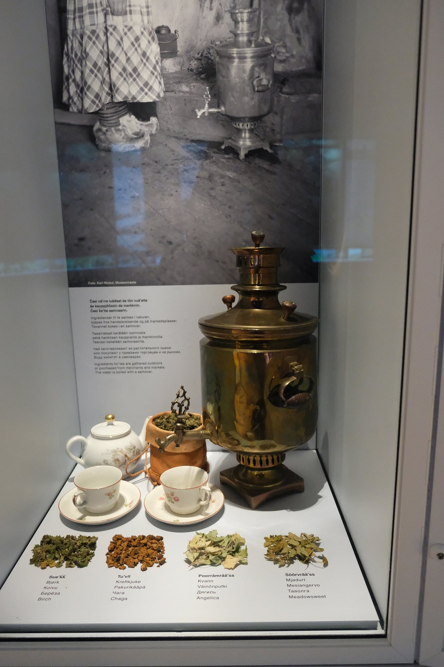 A samovar used by the Skolt Sami, highlighting the blending of Russian and Sami cultures.