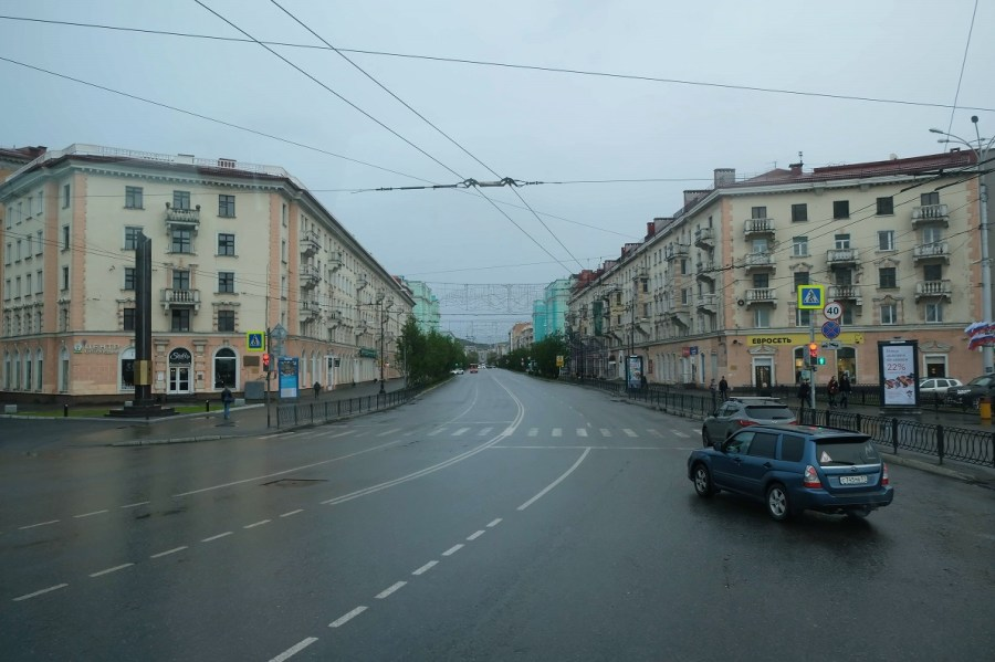 Murmansk's nearly empty boulevards.