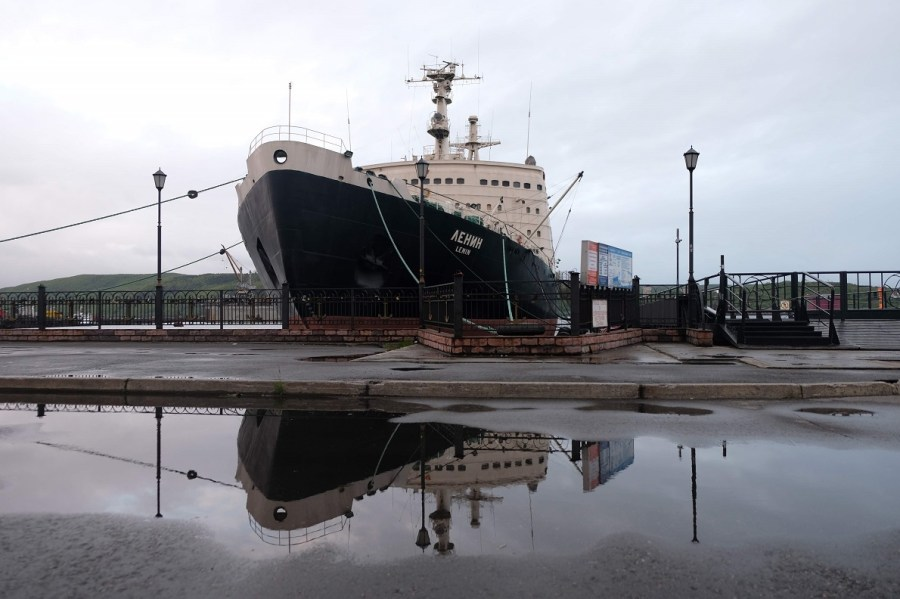 The Lenin icebreaker, now a museum and conference facilities, docked permanently in Murmansk.