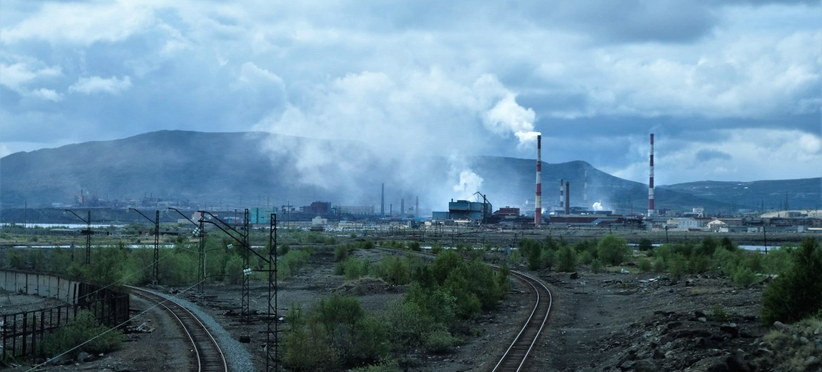 Train tracks near the mining complex in Monchegorsk.