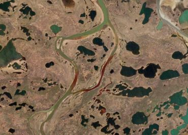 Oil spill in the Ambarnaya River, Krasnoyarsk Krai, Russia