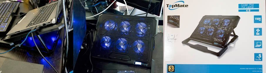 TopMate Laptop Cooler, Super Quiet 6 Fans Laptop Fan and Stand Notebook Computer Fan Base Plate Pad CPU Coolers Radiators Cooling Rack