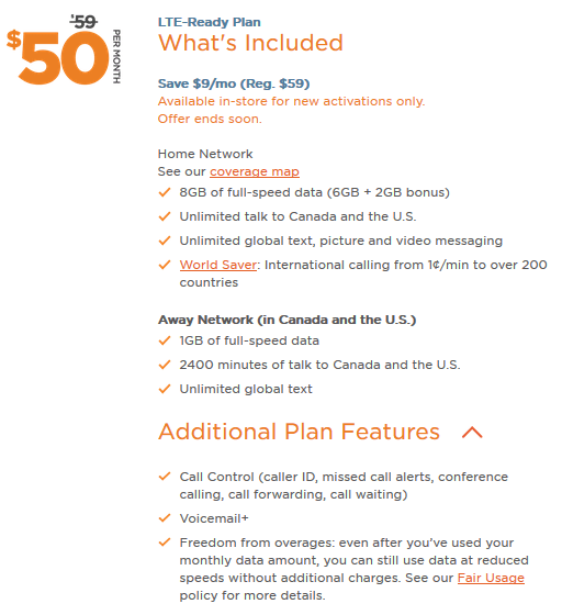 Freedom Mobile rate plans