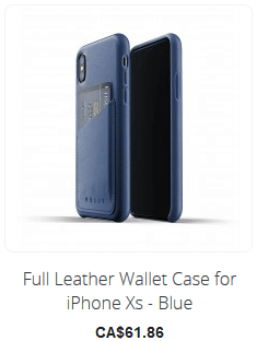 Full Leather Wallet Case for iPhone Xs -Blue