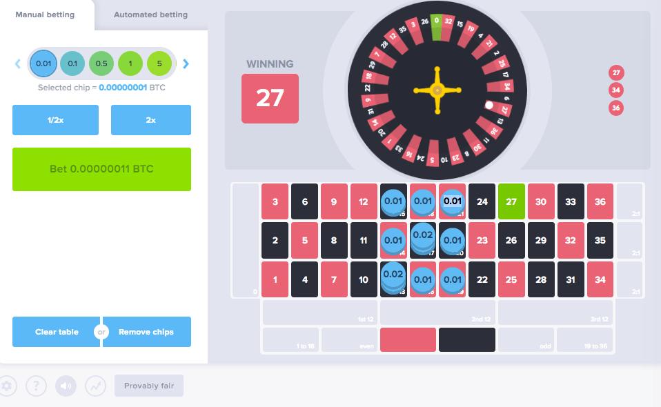 provably fair bitcoin roulette