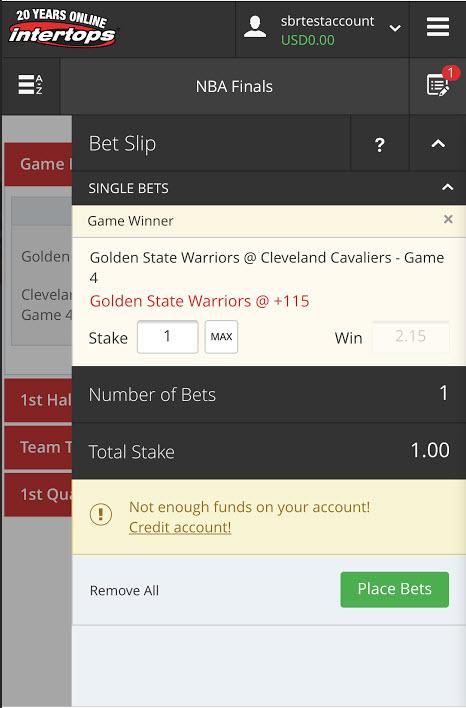 Intertops BTC NBA Basketball betting app