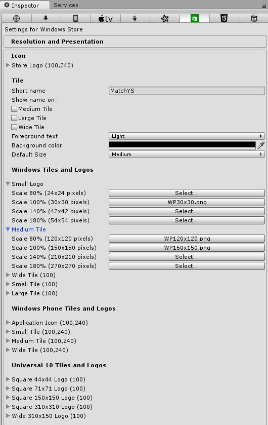 Unity Windows icon size versions