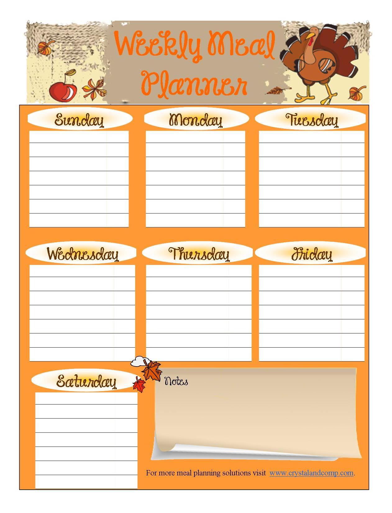 Free Printable Meal Planner November