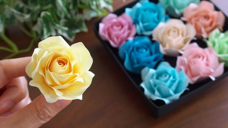 100均メモ用紙で作る可愛いバラの花の作り方