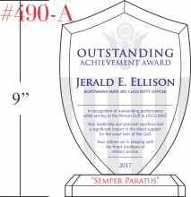 USCG Shield Plaque Crystal Central
