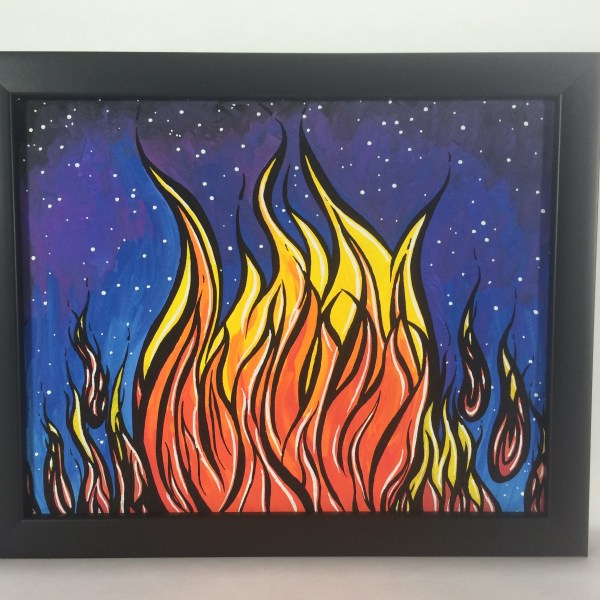 Flames_In_Space_Acrylic_on_Canvas_-_8x10_Painting_in_Black_Frame_by_Mark_Bray - 1