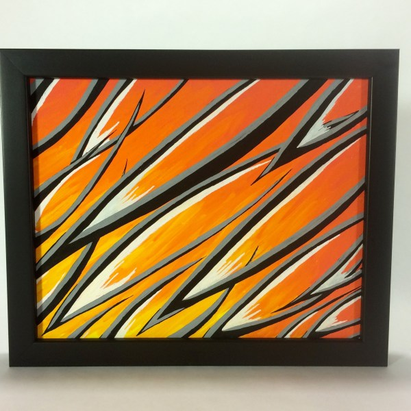 Orange_Scales_Acrylic_on_Canvas_-_8x10_Painting_in_Black_Frame_by_Mark_Bray - 1