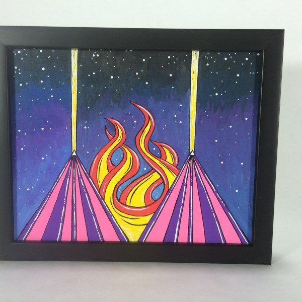 Space_Pyramids_Acrylic_on_Canvas_-_8x10_Painting_in_Black_Frame_by_Mark_Bray - 2