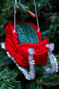 Santa's Sleigh Ornament Crochet Pattern