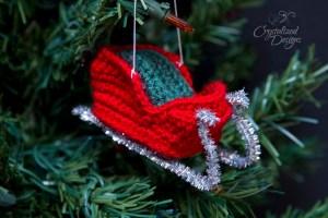 Santa's Sleigh Ornament Free Crochet Pattern