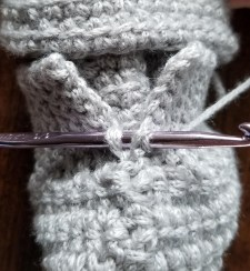 Thumb of Linked Double Crochet Mitten step 2