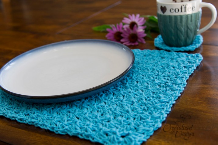 Ambrosia Placemat and Coaster Crochet Pattern by Crystalized Designs
