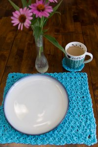 Textured Placemat and Coaster Free Crochet Pattern by Crystalized Designs