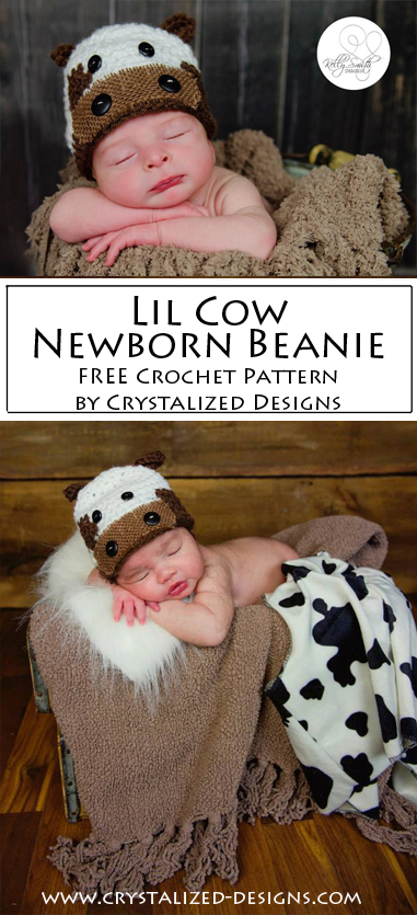 Lil Cow Newborn Beanie Free Crochet Pattern by Crystalized Designs