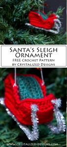 Santas Sleigh Ornament by Crystalized Designs