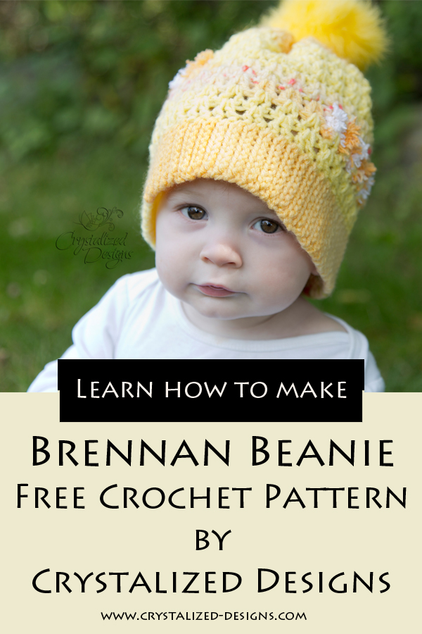 Brennan Beanie Free Crochet Pattern by Crystalized Designs