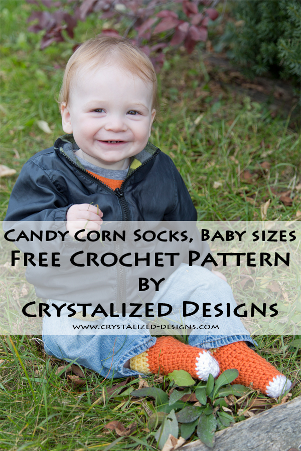 Candy Corn Baby Socks Free Crochet Pattern by Crystalized Designs