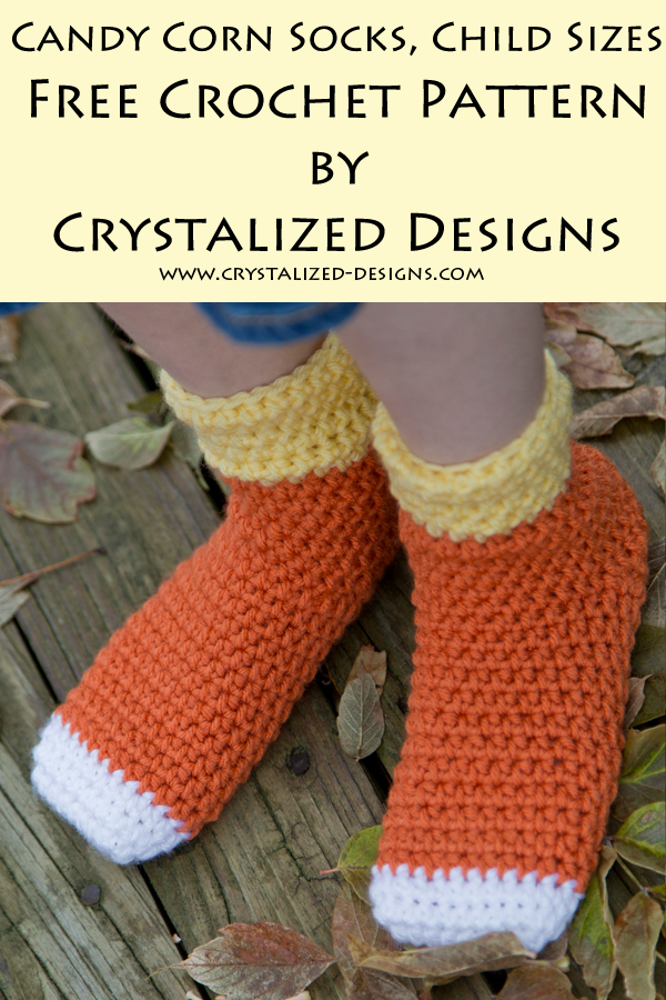 Candy Corn Socks Child Sizes Free Crochet Pattern by Crystalized Designs