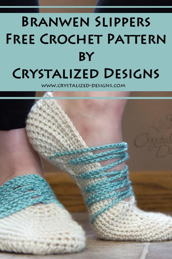 Branwen Slippers Free Crochet Pattern by Crystalized Designs