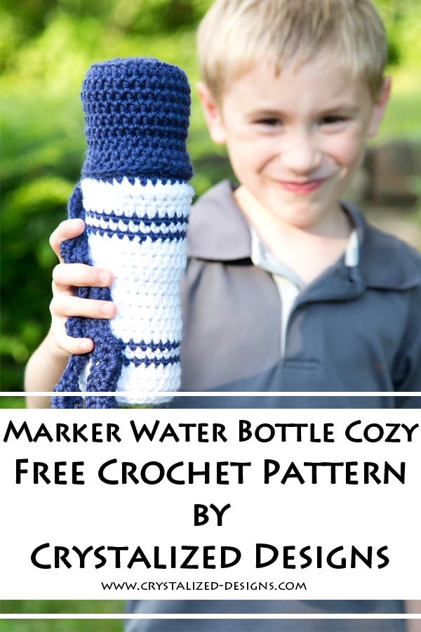 Marker Water Bottle Cozy Free Crochet Pattern by Crystalized Designs