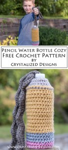 Pencil Water Bottle Cozy Free Crochet Pattern by Crystalized Designs
