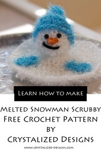 Melted Snowman Kitchen Scrubby Free Crochet Pattern by Crystalized Designs