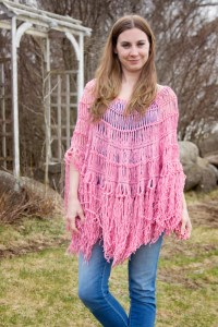 Circle Poncho using Hairpin Lace