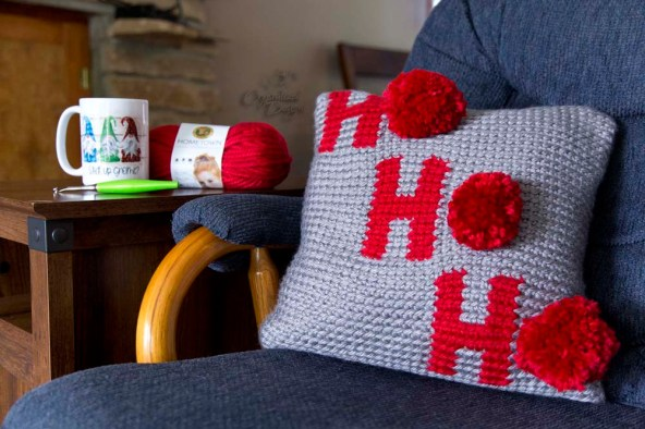 Ho Ho Ho Pillow Cover Free Crochet Pattern
