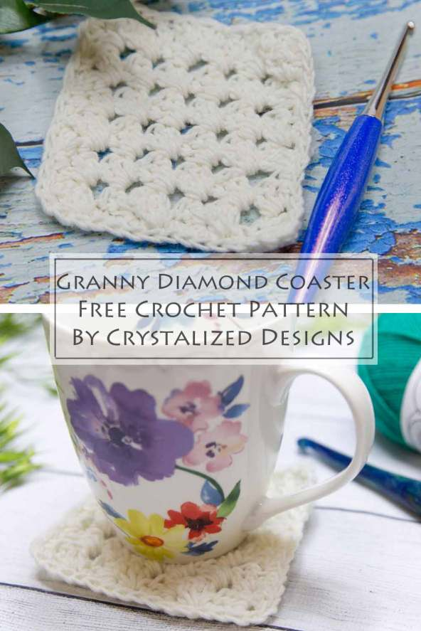 Granny Diamond Coaster Free Crochet Pattern by Crystalized Designs