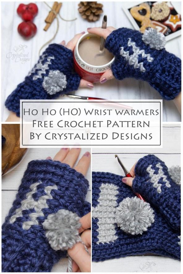 Ho Ho Ho Wrist Warmers Free Crochet Pattern by Crystalized Designs