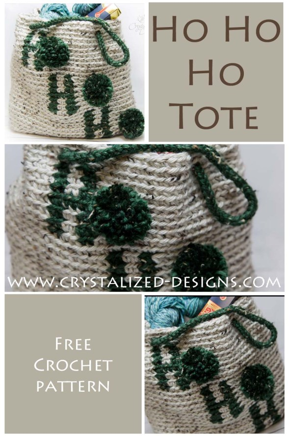 Holiday Ho Ho Ho Tote Bag Free Crochet Pattern by Crystalized Designs