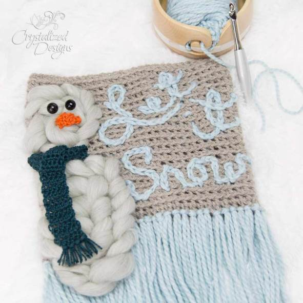 Winter Snowman Wall Hanging Free Crochet Pattern by Crystalized Designs