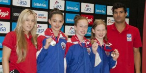 Louise Bradley, Anabel Triggs, Florence Smith, coach Chelsea and Ashley