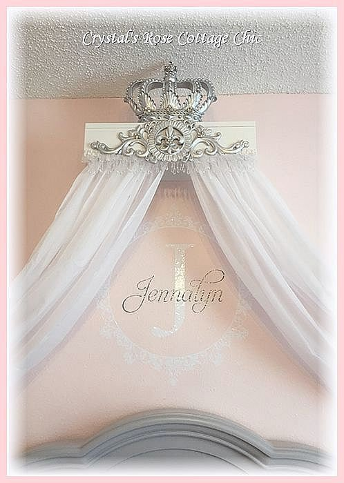 Silver Lux Princess Bed Crown Canopy Teester w Hold Back ... on Wall Teester Bed Crown  id=22057