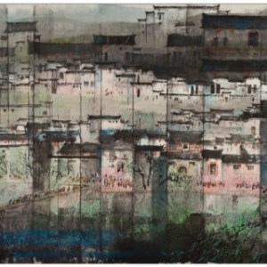 CHIANG Ming-Shyan, 2012, Spring of Hong Village, colour ink-wash painting