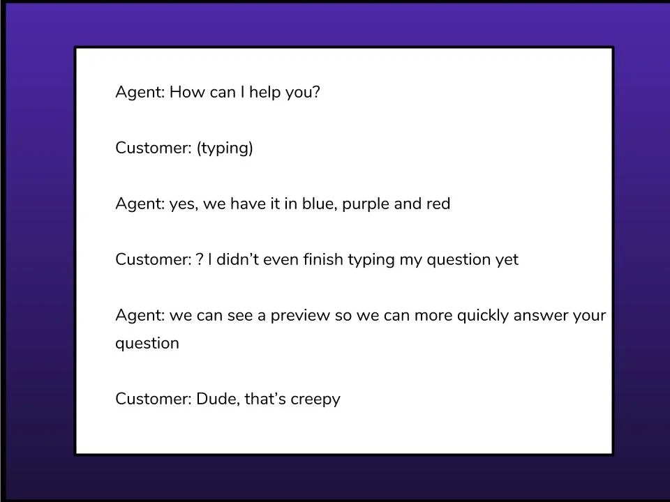 Agent customer chat example of chat preview monitoring