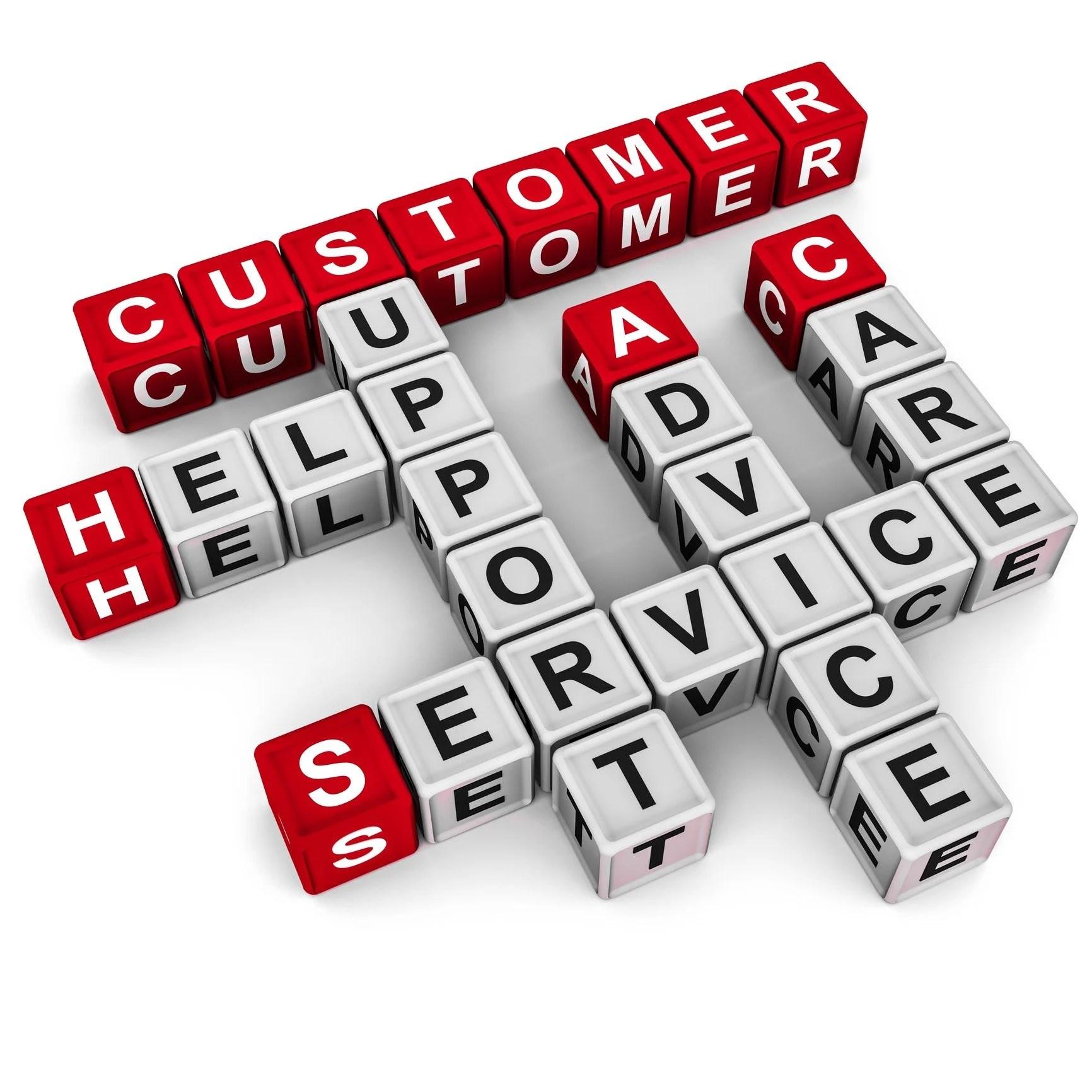 Customer service word blocks