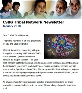 Border of diverse faces. January 2018 CSBG Tribal Newsletter. Happy New Years witha flower drawn in colorful chalk.