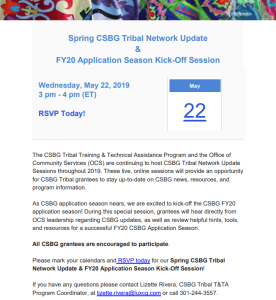 Spring CSBG Tribal Update & Fy20 Applicatin Season Kick-Off Invite