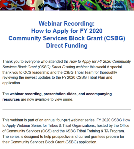 Webinar Recording: How to Apply for FY 2020 CSBG Direct Funding